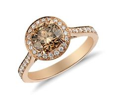 Fancy Yellow Brown Micropave Halo Diamond Ring in 18k Rose Gold (1.60 ct. tw.) pretty