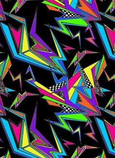 M_8: Totally radical. I love almost anything reminiscent of the late 80s/early 90s and this is perfection. I swear I had a Trapper Keeper just like this. The neon and lightening bolt shapes dance against the black. Fun and vibrant.    Jacqueline Maldonado  society.com