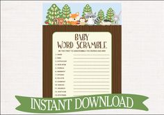 Woodland Baby Shower Game Word Scramble  by celebrateitparties