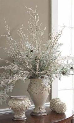 The Chic Technique: White Christmas table decorations. After Christmas, Silver Christmas, Noel Christmas, Vintage Christmas, Christmas Crafts, Christmas Stuff, Christmas Mantles, Victorian Christmas, Christmas Ornaments