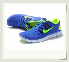 http://www.tomses.com/ - Men's Nike Free 5.0+ - Blue/Volt Green