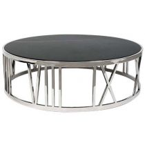 Round Marble Coffee Table is modern and sophisticated with elegant Roman numerals matching black marble top. This luxurious stainless steel table is effortless and sleek. Coffee Table Grey, Round Coffee Table, Coffee Table Design, Stainless Steel Coffee Table, Marble Polishing, Center Table, Black Table, Marble Top, Modern Classic