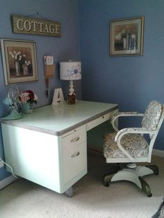 """Vintage Single Pedestal Tanker Desk made by Cole Steel. Repainted in Retro Green two-toned oil-based paint. Chair painted to match and recovered. Rolled the paint with a 6"""" roller, 3 coats. Love it!"""