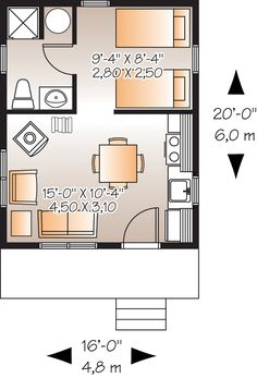 First Floor Plan of Cabin House Plan 76163