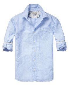 Linnen shirt met opgerolde mouwen