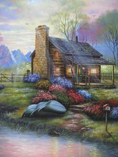 Cabin Oil Painting  Vickie Wade art paintings by VickieWadeFineArt,