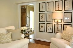 Wall of botanicals-- want to do this in our family room