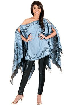 3eb0786efa1 KOH KOH Petite Womens Pashmina Cape Blouse Floral Poncho Cardigan Cover Up  Batwing Top Cloak Scarf One Off Shoulder Cozy Winter Shirt