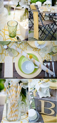 Yellow Tea Party on Style me Pretty  http://www.vervephotoco.com/blog/engagement-tea-party-inspiration-shoot/