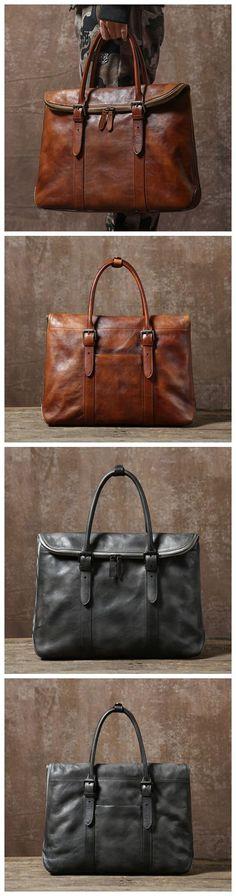 Handmade Vintage Top Grain Leather Briefcase 14'' Leather Laptop Bag Men's Fashion Business Bag GR02 Overview: Design: Men's Leather Briefcase In Stock: 3-5 days For Making Custom: No Color: Vintage B