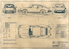 Konstruktionszeichnung Porsche 930 1974 von AutomobileZeitreise