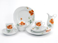 "Coffee set Waves, Shape ""Waves relief"", Wild poppy, red, white rim"