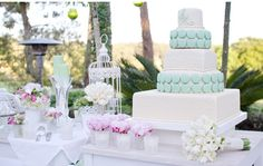wedding cake - classic cake - white and blue