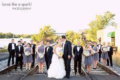ALEXANDRA + BRIAN'S WEDDING, MARIETTA FIRST UNITED METHODIST CHURCH, MARIETTA BRICKYARD, MARIETTA, GEORGIA, bride's gown, Bel Fiore, Bride and groom, Black tie, bow tie, couples photos, real wedding, railroad, bridal party