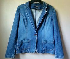 New York & Company Denim Jean Jacket Coat Size 14 XL Womens  Blue #NewYorkCompany #JeanJacket