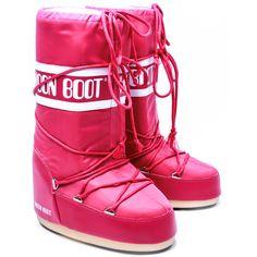 MOON BOOT Nylon - Różowe Nylonowe Śniegowce Damskie