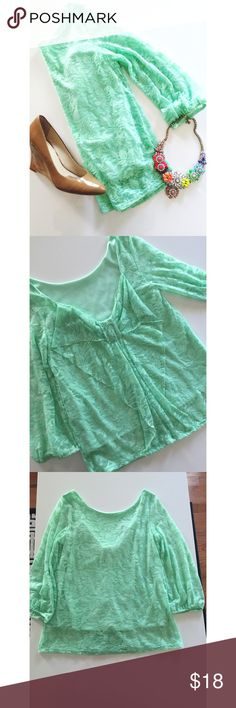 • Coveted • Mint • Lace • Bow back • Excellent condition • 92% Nylon, 8% Spandex • NO TRADES/HOLDS • All reasonable offers accepted • Purchased from local boutique • Francesca's Collections Tops