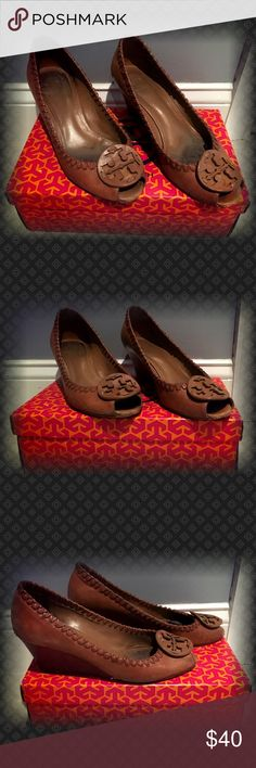 Very Much Loved Tory Burch Tan Wedges Very Much Loved Tory Burch Tan Wedges.   These were my favorite pair for a year.   Please see pictures.  They are very much loved but have some life left in them.  Heal needs repair.  No box Tory Burch Shoes Wedges