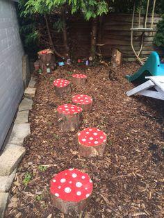 Toadstool stepping stones fairy garden