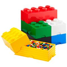 Store Lego in Lego Brick- Good gift for your Lego Lover. Storage boxes of various sizes for your Lego & other toys. Also available lego head bins. Lego Storage Boxes, Lego Storage Brick, Lego Boxes, Kids Storage, Lego Brick, Storage Bins, Toy Boxes, Storage Containers, Storage Ideas