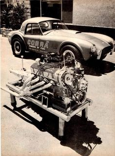 Shelby Cobra and engine Ford L ? 427 Cobra, Mustang Cobra, Ford Classic Cars, Best Classic Cars, Muscle Cars, Carros Lamborghini, Shelby Car, Shelby Gt500, Diesel