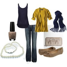 navy & yellow cute fall outfit