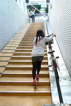 Bike escalator, Tokyo. Click image for link to full profile and visit the slowottawa.ca boards >> http://www.pinterest.com/slowottawa/