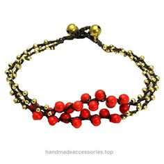 48e013289a Adjustable Three Layer Brass Beaded Anklet with Red Stone Beads