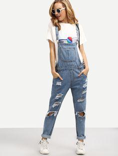 Ripped Overall Boyfriend Jeans | MakeMeChic.COM