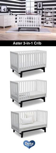 The Aster 3-in-1 Convertible Crib by Delta Children blends clean lines and modern convenience. The all-slated sides offer a clear view of your baby while the contrasting legs add a pop of contemporary style to any nursery. #Crib #DayBed #Convertible