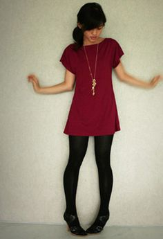 Maroon shirt-dress with black tights and Sole Lovers sandals