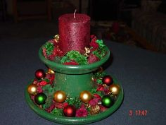 Terra Cotta Pot Christmas Crafts - (idea only) Christmas Clay, Homemade Christmas, Christmas Projects, Christmas Time, Christmas Ornaments, Christmas Candle, Clay Ornaments, Snowman Ornaments, Clay Flower Pots