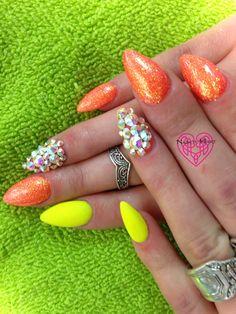 Citrus Brights & Swarovski's Nails by Katie Hart.