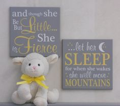 Yellow and Gray Baby Girl Nursery Signs and though by NelsonsGifts