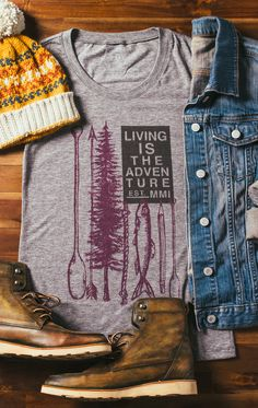 """Living Is The Adventure"" --- This #Sevenly tee is perfect for a cozy fall outfit. Put it on and then go outside and explore some more!"