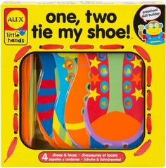 Learn to tie shoes with these colorful and chunky cards and laces