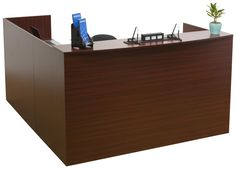 Reception Desk w/ L-Shaped Design, 4 Drawers, Melamine, Wood Finish - Mahogany Furniture Making, Wood Furniture, Directory Signs, Office Waiting Rooms, Reception Desk Design, Hotel Supplies, Cable Organizer, Contemporary Office, Business Furniture