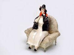 Woman with phon, ceramic sculpture, home decor, ceramic figurines, art by Agnieszka Beer