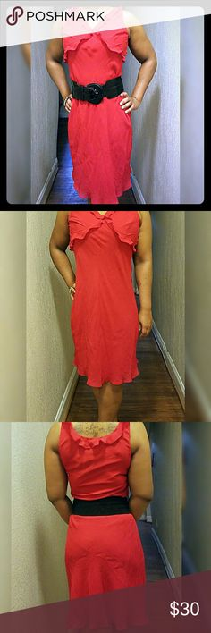 NWOT Sophisticated Red Ralph Lauren Dress Sleeveless Ralph Lauren dress with scalloped hem and V-neck. Dress hits just below the knee. Ruffles along V-neck and cross at the bust. 100% rayon and 100% polyester shell.  Misses size 10. NWOT. Ralph Lauren Dresses Midi