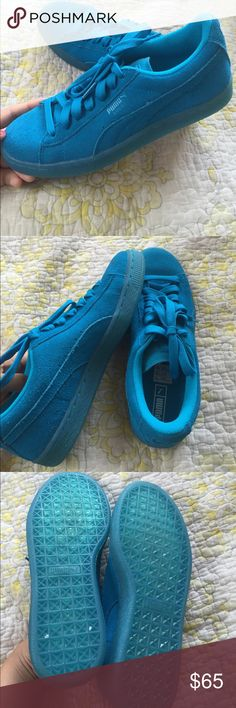 Blue Puma Suede Sneakers In brand new condition, I never wore them. They still have the shoe laces tied from the store. Suede material. Purchased at Nordstrom Puma Shoes