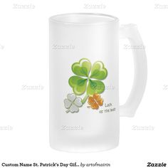 Ireland Flag Colors Shamrocks design  St.Patrick's Day Gift Beer Mugs with personalized name. Matching cards and other products available in the Holidays / St.Patrick's Day Category of the artofmairin store at zazzle.com
