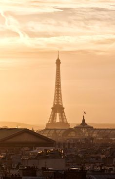 The Eiffel Tower at sunset from the rooftop of Galeries Lafayette department store #Paris