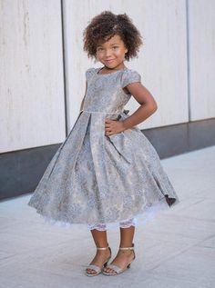 e7ffc15ce0ed Champagne Chantilly Lace Pattern Jacquard Girls Dress w. Pleated Skirt 2T-12