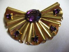 Vintage Retro Gold Plated Brooch with Amethyst by Vintageisnow