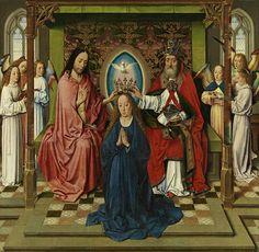 Dieric Bouts – Krönung Mariä, um 1450; Tempera auf Holz, 83,5x85 cm |  Gemäldegalerie der Akademie der bildenden Künste Wien