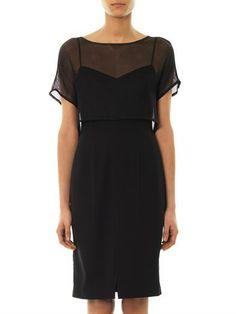 L'Agence Mesh sheer short sleeve knee length all black slip dress | summer fall style
