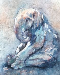 Watercolor Batik on Rice Paper by Chris Lally / Baby Blue / Sold