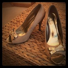 """""""My Delicous Shoes"""" Gold Heels This pair of beautiful heels has been sitting in the back of my closet for a long time,they are used,but no serious damage has been done to them! Shoes Heels"""