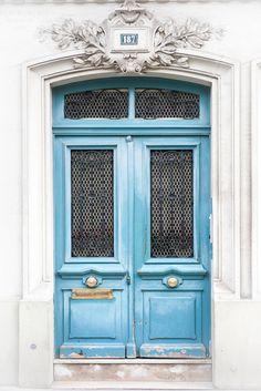 Paris Door Photography - Blue Door 187, Paris Architecture Fine Art Print, Travel Photograph, French Home Decor, Large Wall Art