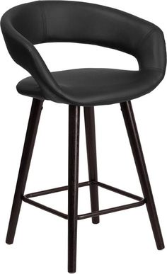BRYNN SERIES 23.75'' HIGH CONTEMPORARY CAPPUCCINO WOOD COUNTER HEIGHT STOOL IN BLACK VINYL